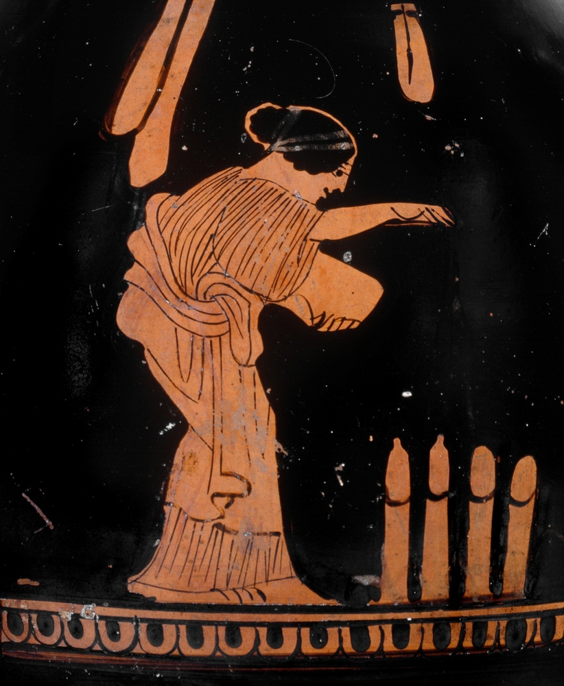 This scene from a Greek vase depicts a woman tending her phallus patch. Her strange crop is not the only humorous aspect of t