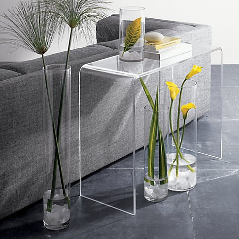 "Price: <a href=""http://www.cb2.com/peekaboo-clear-console/s401587?a=501&device=c&network=g&matchtype="" target=""_blank"">$379.0"