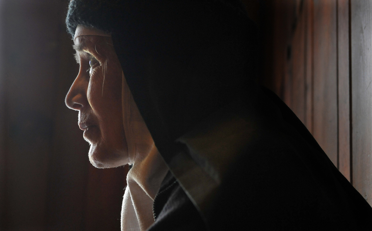 In this Thursday, Dec. 22, 2011 photo, Mother Dolores Hart is interviewed inside the Abbey of Regina Laudis monastery in Beth