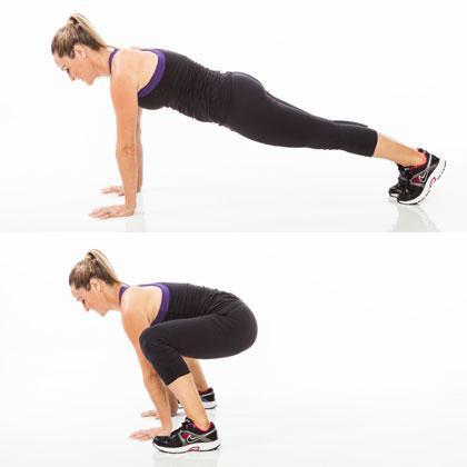 Reps: 20  Begin in a straight-arm plank, with feet together and abs braced in tight. Bend knees and quickly jump legs forward