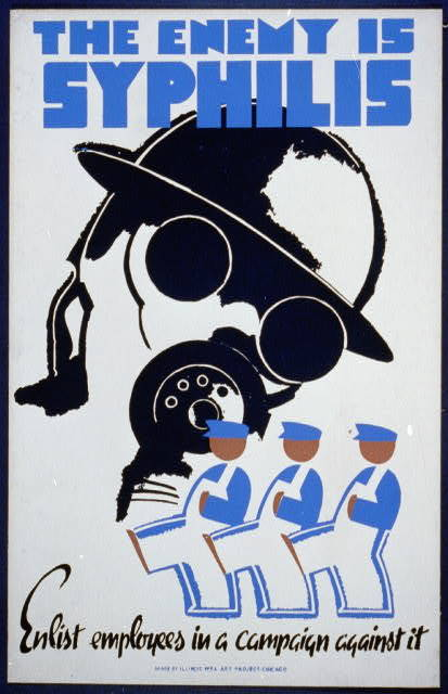 """<a href=""""http://www.loc.gov/pictures/item/98507183/"""" target=""""_blank"""">Poster showing man wearing gas mask and men marching.</a"""
