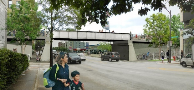 View from Western Avenue (bridge relocated from Ashland Avenue).