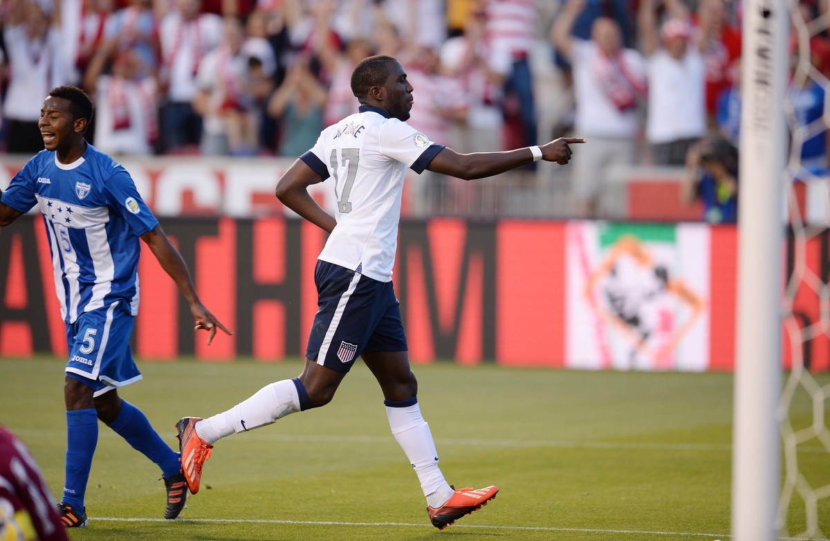 USA's Jozy Altidore reacts after scoring a goal against Honduras during their Brazil 2014 FIFA World Cup qualifier at Rio Tin