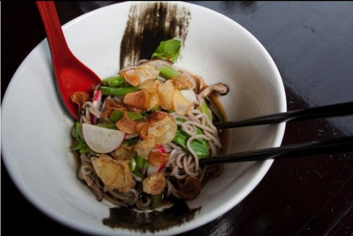 Soba noodles are the perfect summer dish. Serve with your choice of pea leaves, sugar snap peas, scallions, Shiitake mushroom