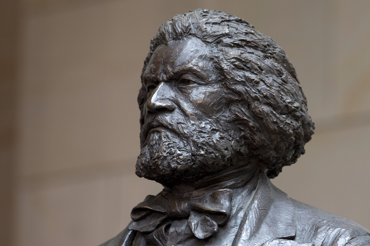 A bronze statue of 19th-century orator and writer Frederick Douglass is seen in the Emancipation Hall of the United States Vi