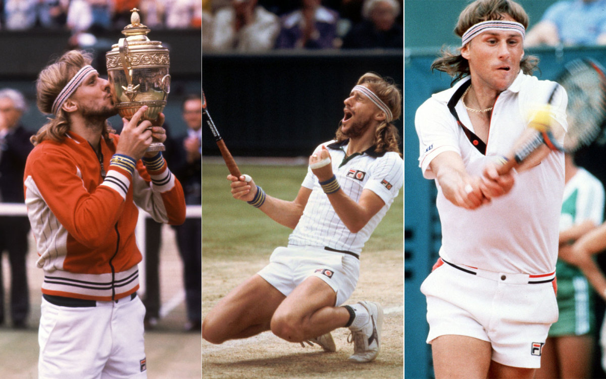 Predominately white polos and short shorts with red and blue accenting made up most of the famed tennis player's Wimbledon wa