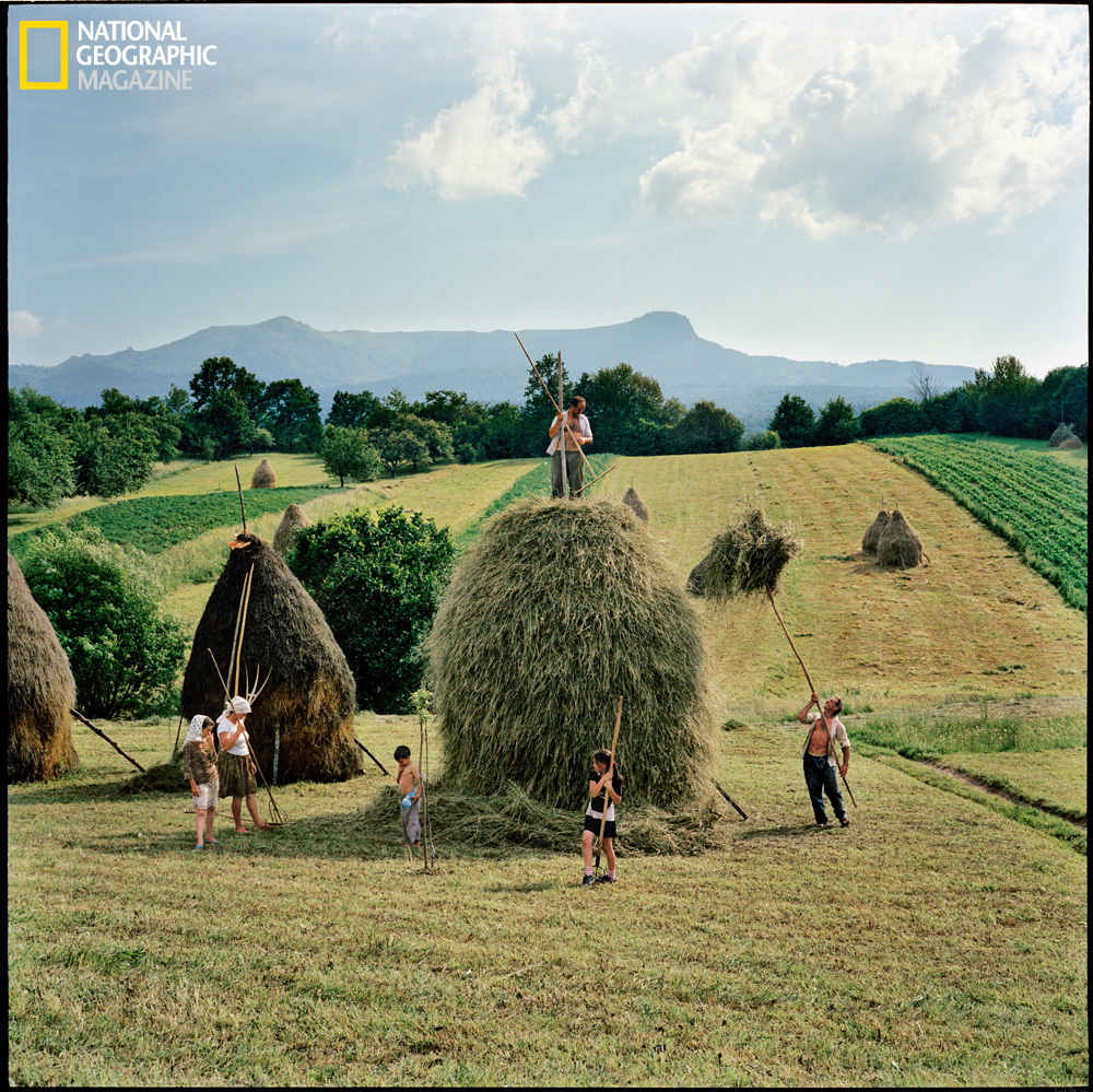 The whole Borca family, from Breb, puts finishing touches on one of the 40 haystacks it makes each summer. (Rena Effendi/Nati