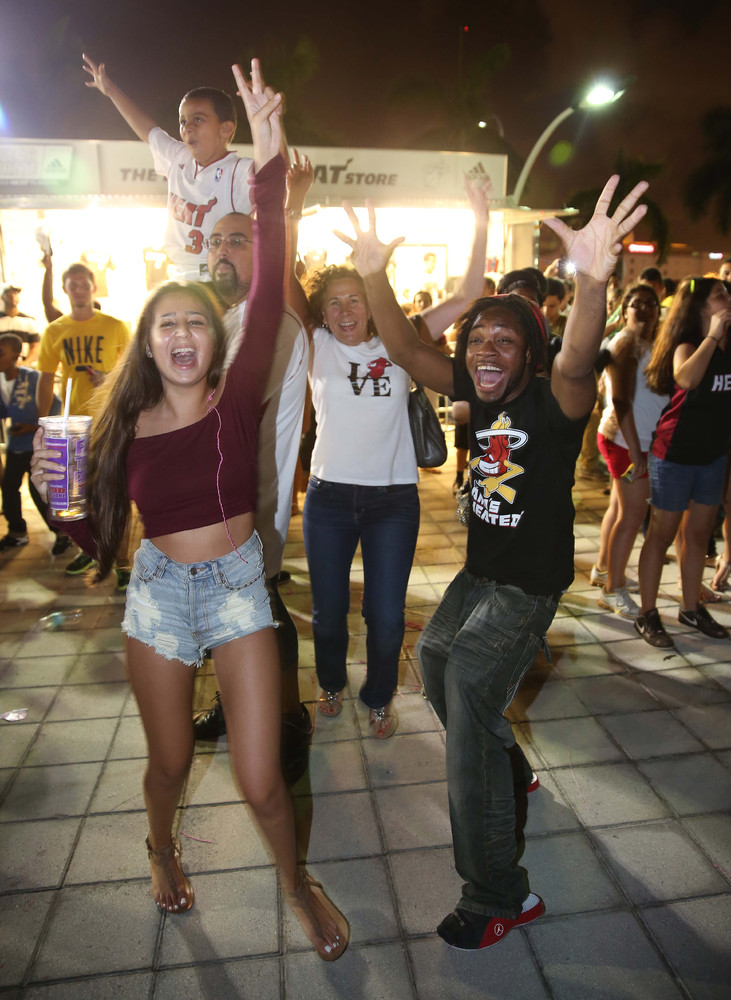MIAMI, FL - JUNE 20:  Fans Celebrate Following The Miami Heat NBA Championship Final Win at AmericanAirlines Arena on June 20