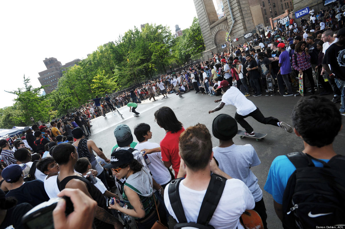 "Skateboarders from across New York City converge on the Lower East Side's Manhattan Bridge Skatepark to celebrate ""Go Skatebo"