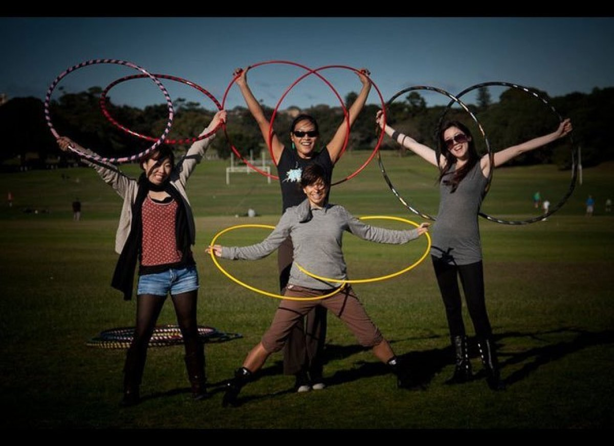 Speaking of props, the hula-hooping yogis of Sydney, Australia find a new, but clever use for the generation-spanning hoop. A