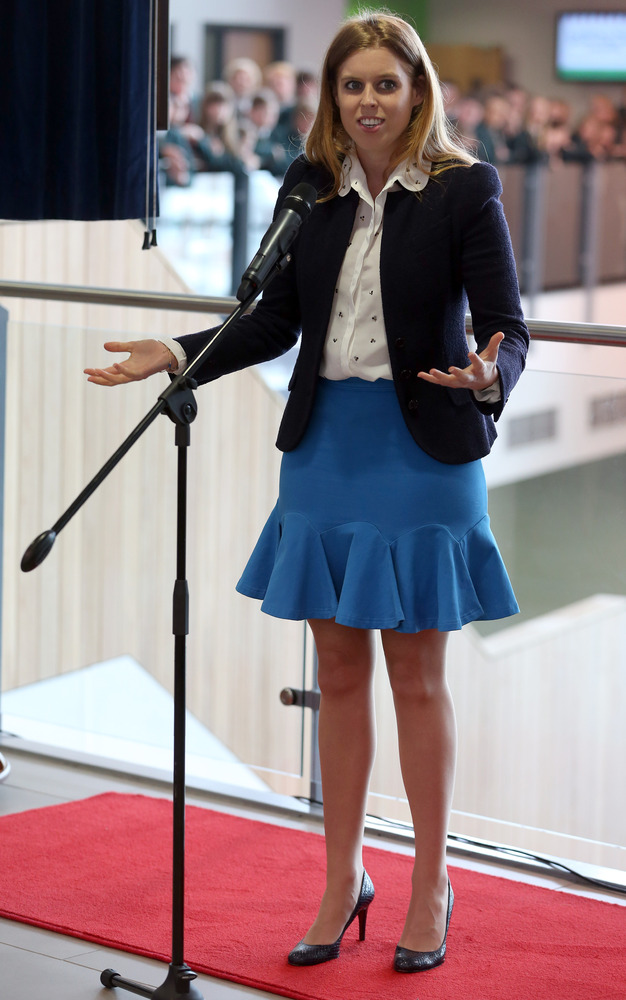 Princess Beatrice delivers her speech to the pupils and staff during a visit to Trinity Academy school in Halifax, which she