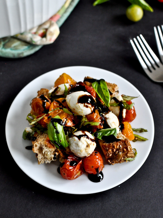 """<strong>Get the <a href=""""http://www.howsweeteats.com/2012/06/roasted-tomato-caprese-panzanella/"""" target=""""_blank"""">Roasted Toma"""