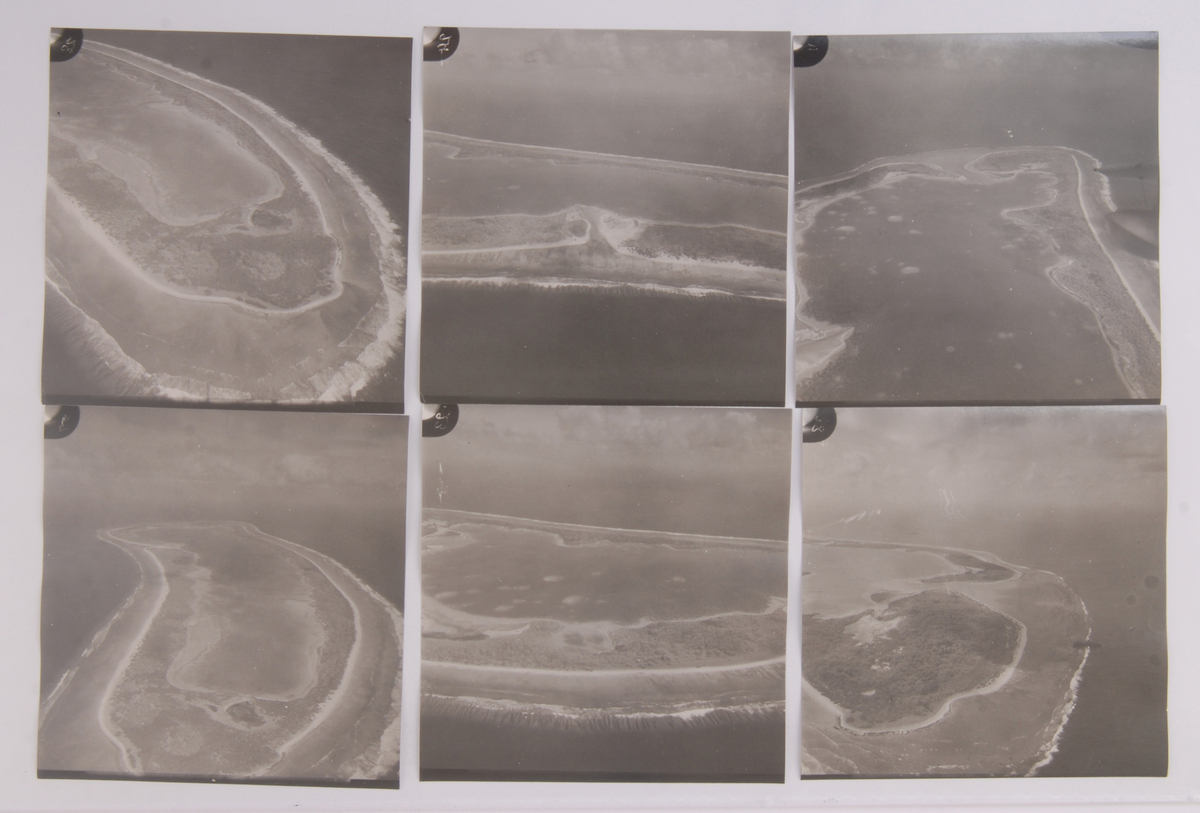 A contact sheet shows aerial images of Nikumaroro, the island where it's believed Amelia Earhart landed.