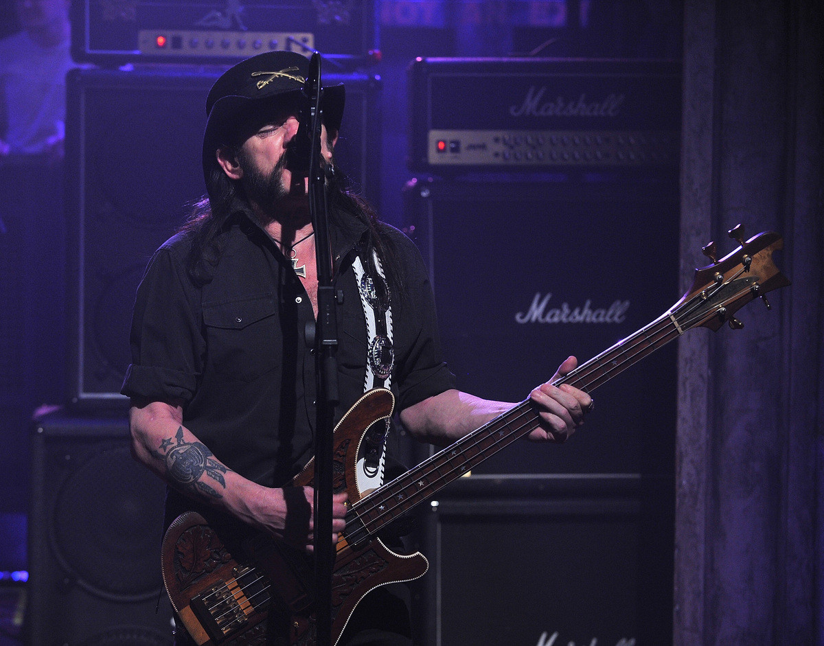 NEW YORK, NY - MARCH 02:  Lemmy Kilmister of Motorhead performs on 'Late Night with Jimmy Fallon' at Rockefeller Center on Ma