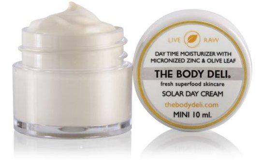 "$16, <a href=""http://www.saffronrouge.com/the-body-deli/mini-solar-day-cream"" target=""_blank"">Saffronrouge.com</a>"