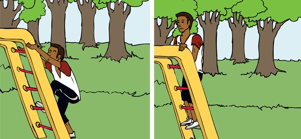 If a playground has monkey bars or a slide, it's gotta have a ladder, too. Stand behind it with arms holding the rails for su