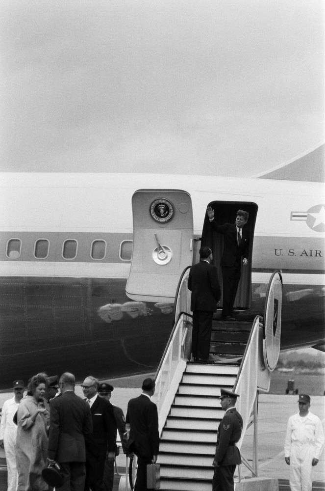 President John F. Kennedy disembarks from Air Force One en route to Rudolph Wilde Platz for his famous 'Ich bin ein Berliner'