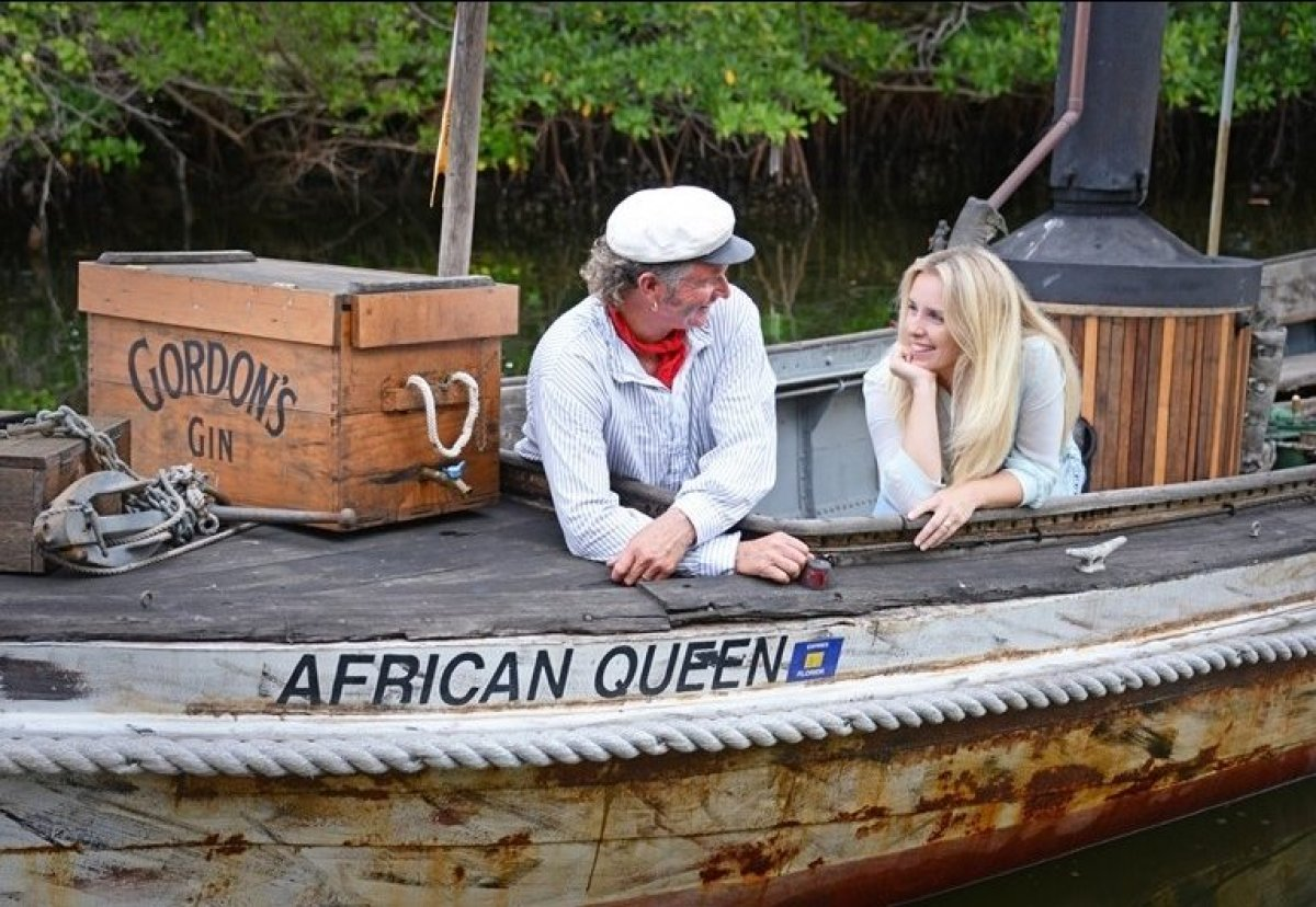 Captain Lance Holmquist with his wife, Suzanne Holmquist, aboard the African Queen in Key Largo.  Credit: Peter W. Cross fo