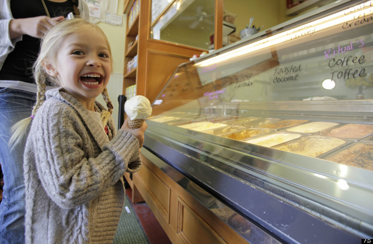 Sophia Santos, 4, smiles after getting an ice cream cone at the Bi-Rite Creamery in San Francisco, Calif. (AP Photo/Eric Risb