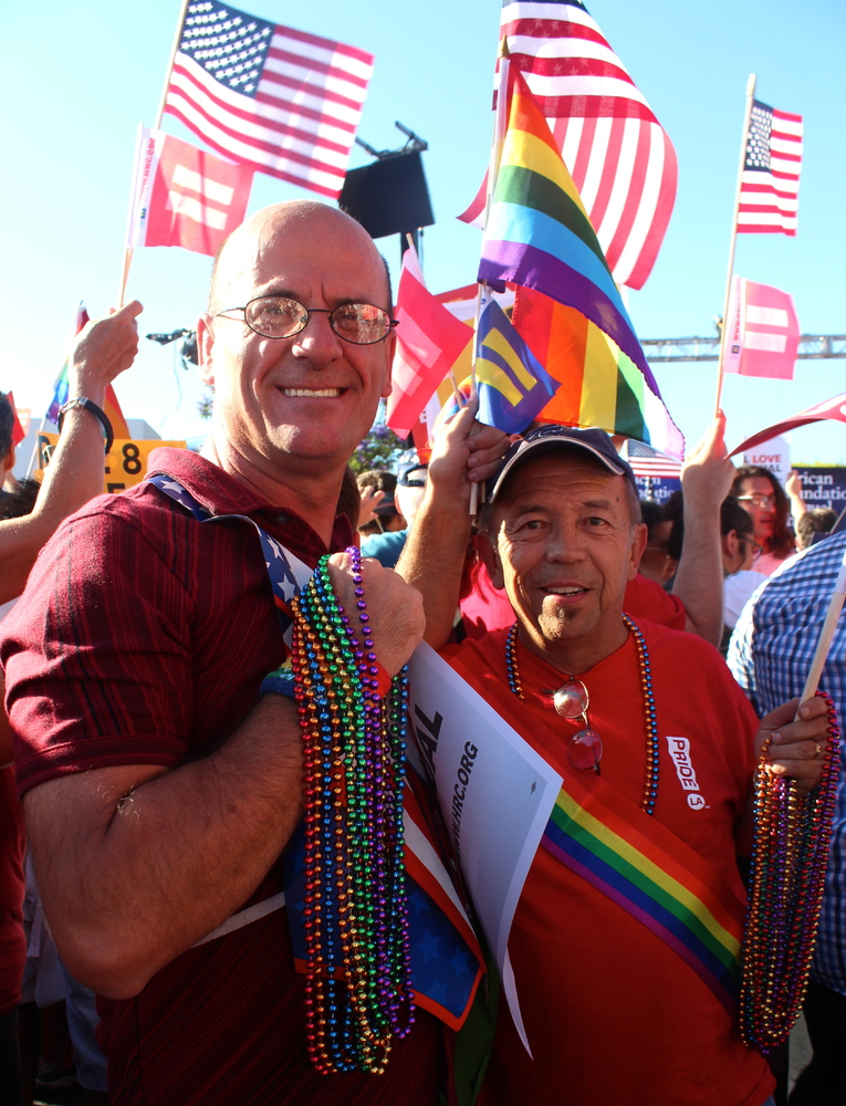 """""""I'm no longer a second-class citizen,"""" said Brad Bigelow, 58 (right). He attended the West Hollywood rally with his friend o"""