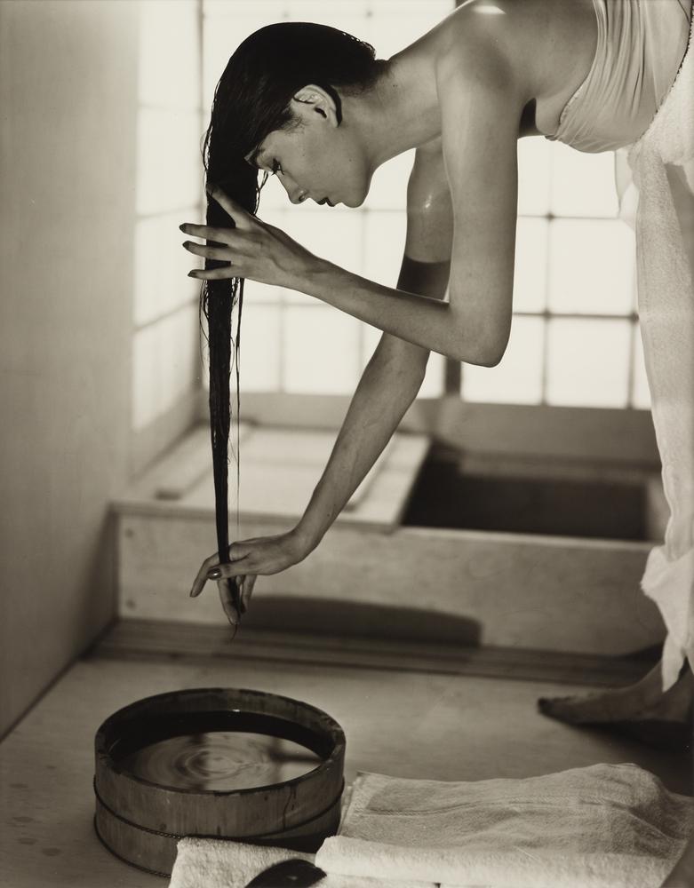 "Louise Dahl-Wolfe   ""Japanese Bath"" 1954, gelatin silver print 18 3/4 x 14 7/8 in.   <a href=""http://www.freemansauction.com/"