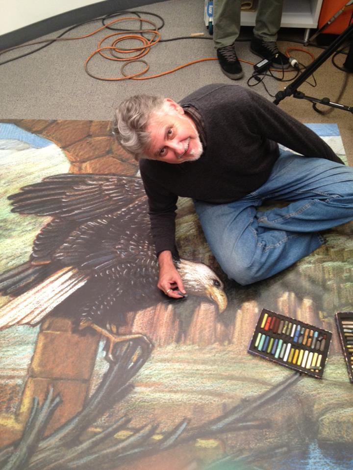 Artist Kurt Wenner with his pastel crayons.