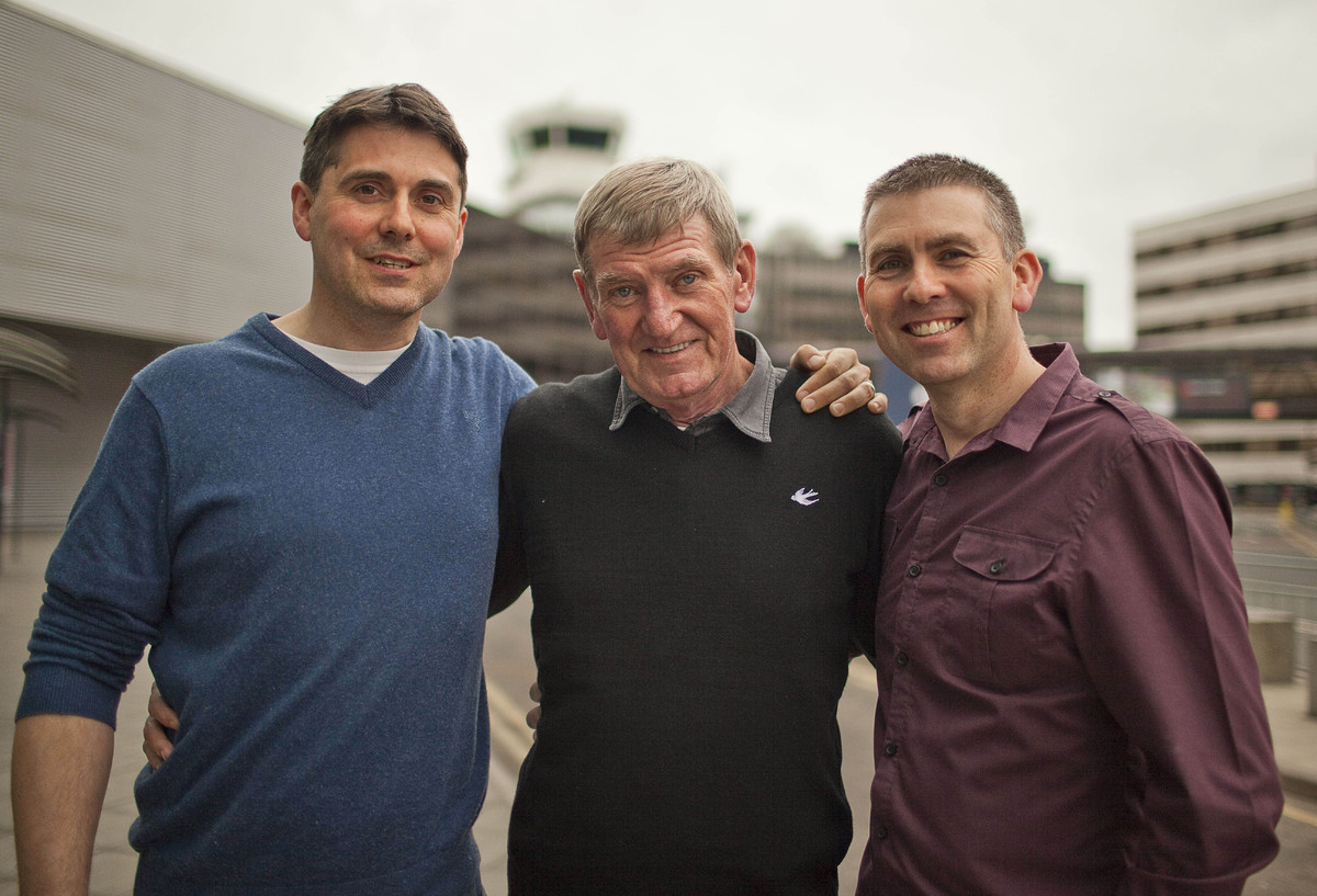 Pictured:  (left) Paul and Dave Shannon reunited with their father David Rees (centre)