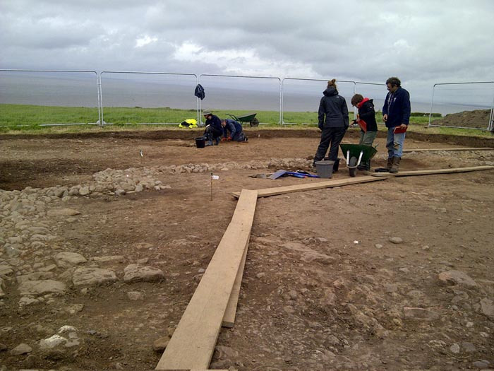 The Christian church found at Maryport, following one week of excavation in 2013. The people in the middle are Tony Wilmott (