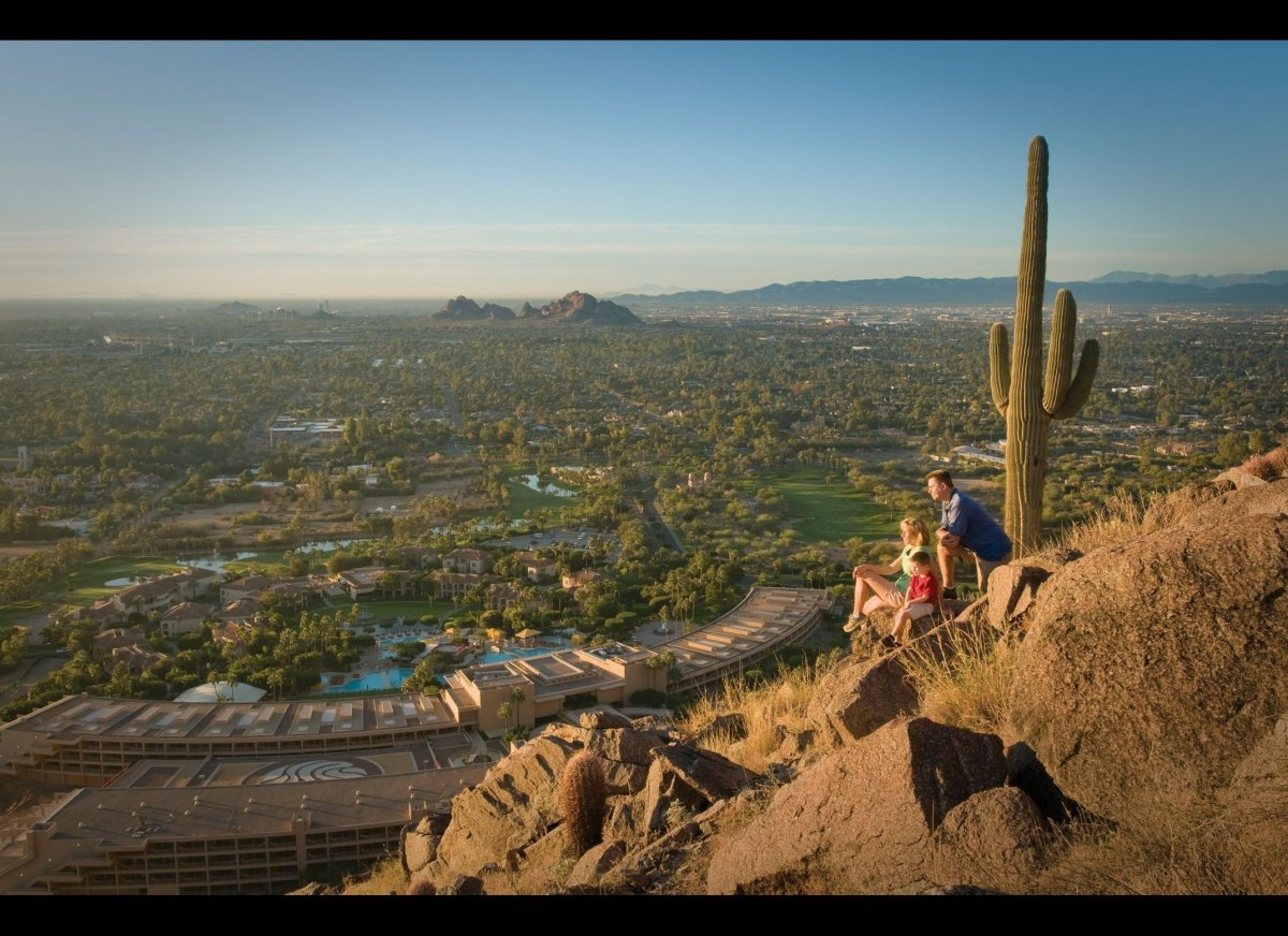 A birds-eye view of Scottsdale, overlooking The Phoenician. (Photo courtesy of Scottsdale Convention & Visitors Bureau)
