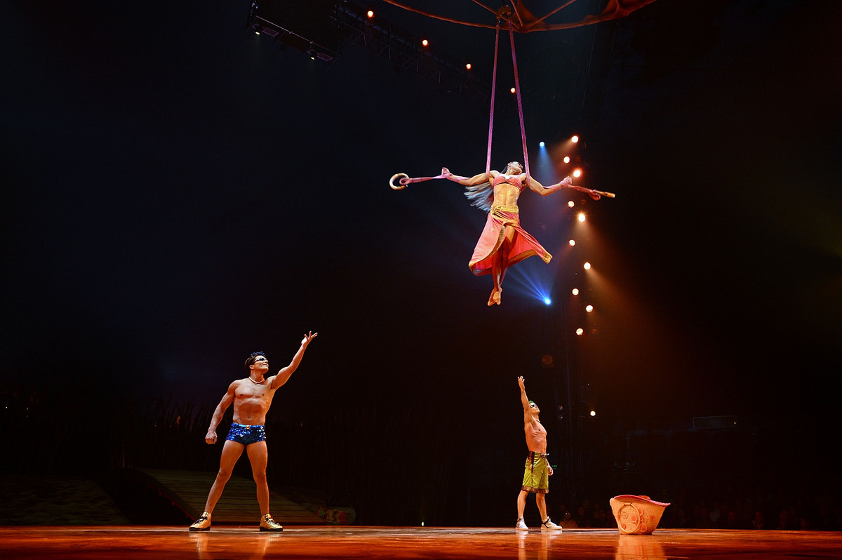 NEW YORK, NY - MARCH 13:  Cast members of Cirque Du Soleil perform in 'Cirque Du Soleil's Totem' dress rehearsal at Citi Fiel