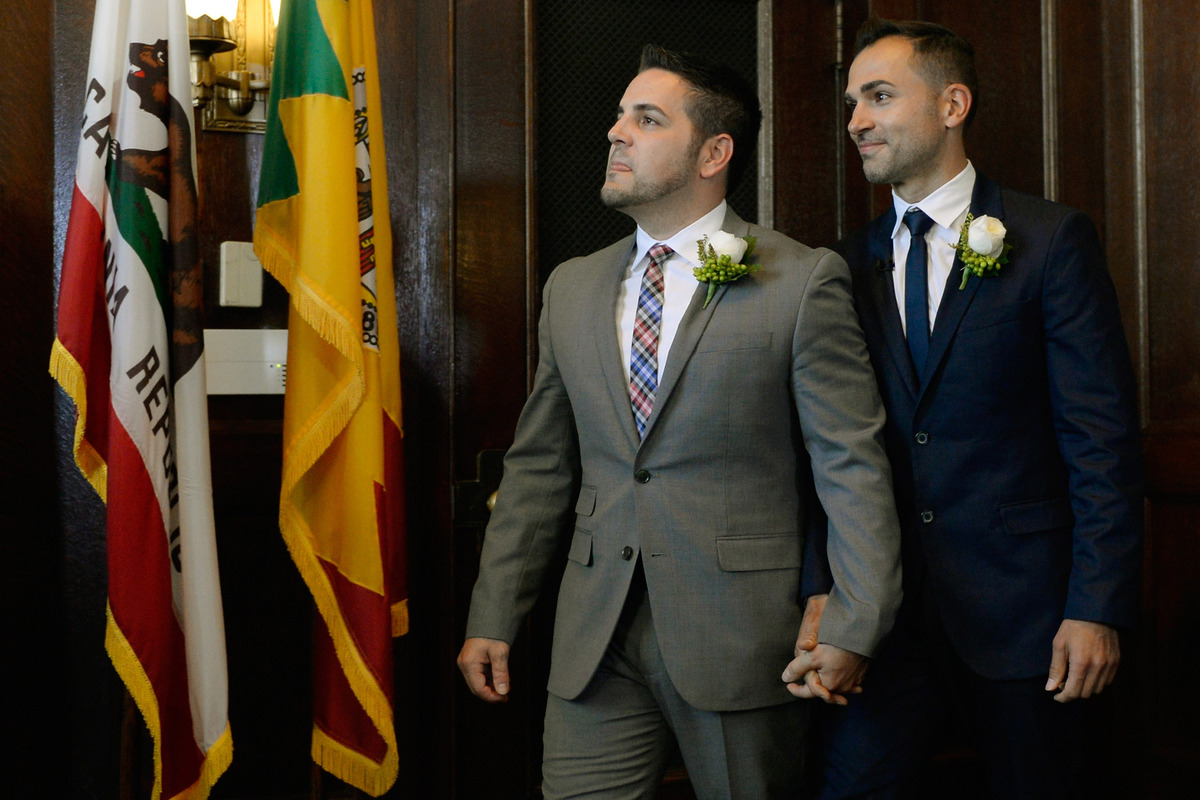 LOS ANGELES, CA - JUNE 28:  Same-sex couple Paul Katami (R) and Jeff Zarillo arrive to be married at Los Angeles City Hall by