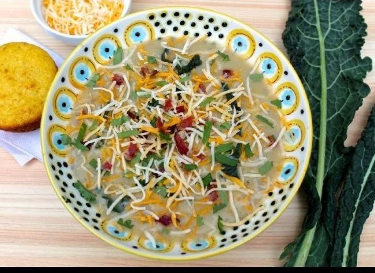 """<span style=""""color: #808080;""""><em>Photo/Recipe from <a href=""""http://fountainavenuekitchen.com/cheesy-potato-soup-with-roasted"""