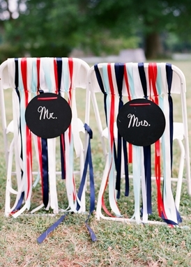 """Use ribbon or budget-friendly streamers on your chairs in patriotic red, white and blue  Photo by: <a href=""""http://r.lover.ly"""