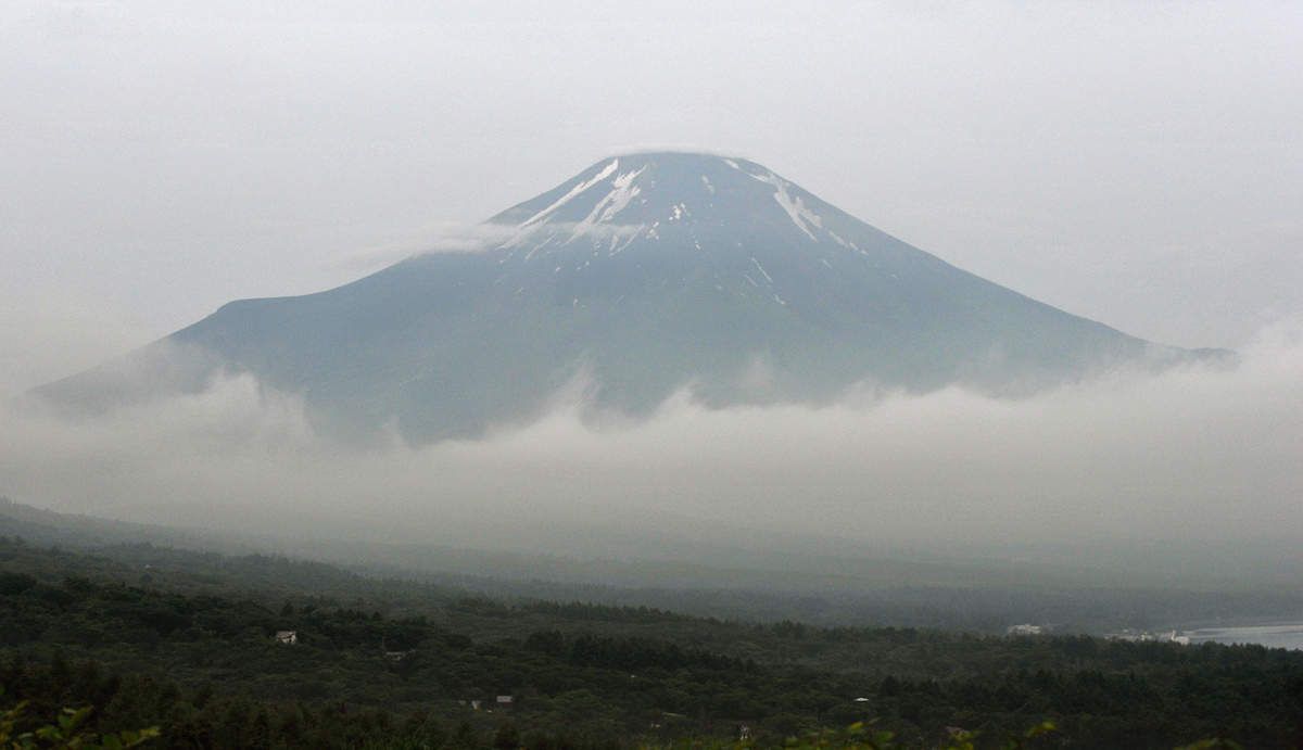 Mount Fuji, the highest mountain in Japan at 3,776 metres (12,460 feet), is seen from Yamanakako village, Yamanashi prefectur