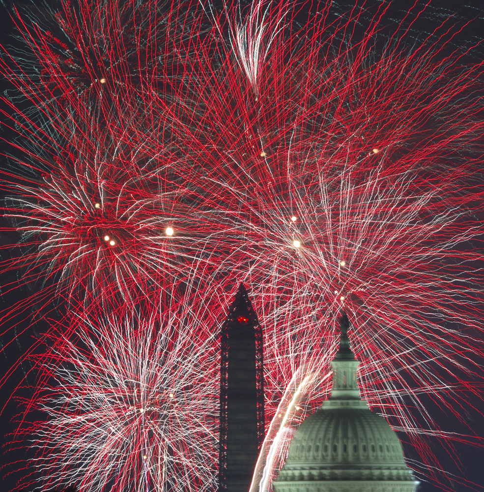 Fourth of July U.S. Independence Day fireworks are seen over the US Capitol and National Monument July 4, 2013 in Washington,