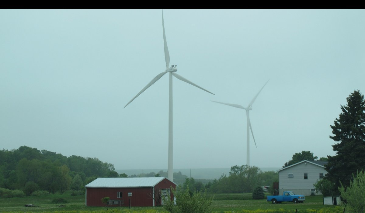 It was misty weather on the day I took these pictures. Did that make the turbines seem less massive? Or more so?