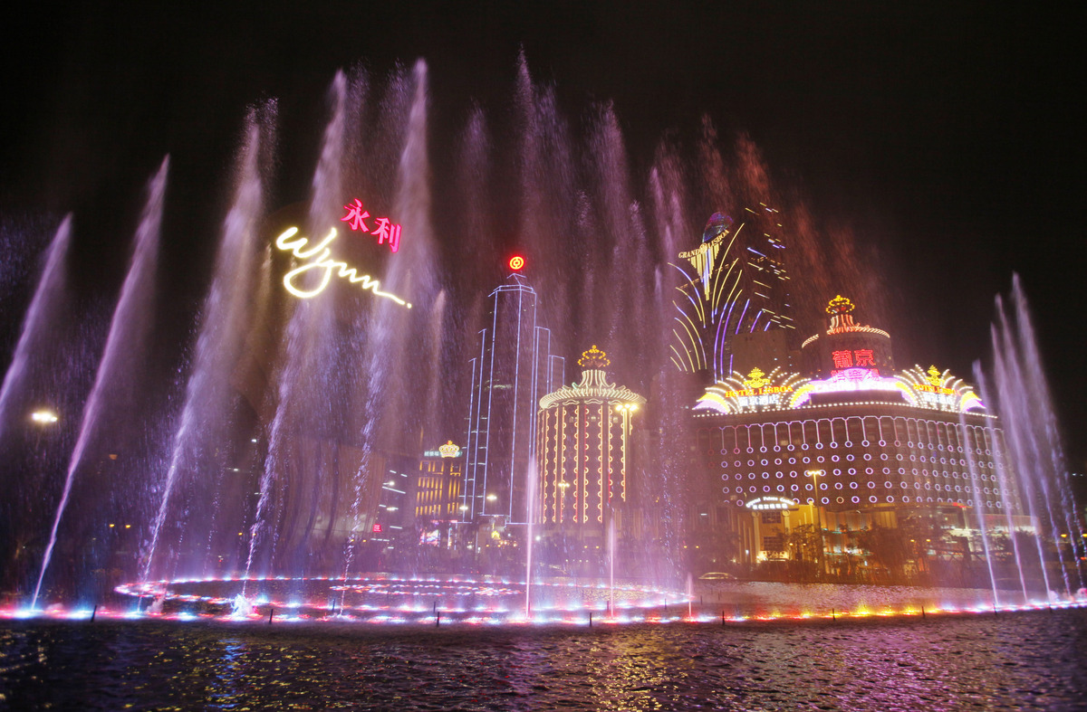 Music fountain performs at the Wynn Macau. Macau is in the midst of one of the greatest gambling booms the world has ever kno