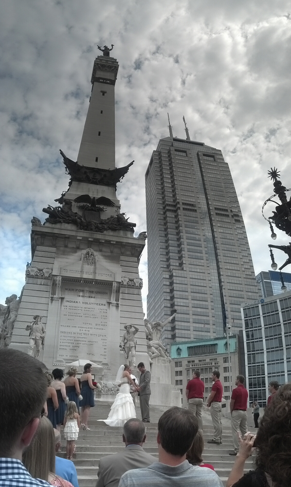 """""""Tiffany Moore married Brian Liffick on July 4 at the Soldiers and Sailors Monument in downtown Indianapolis.""""  Submitted by"""