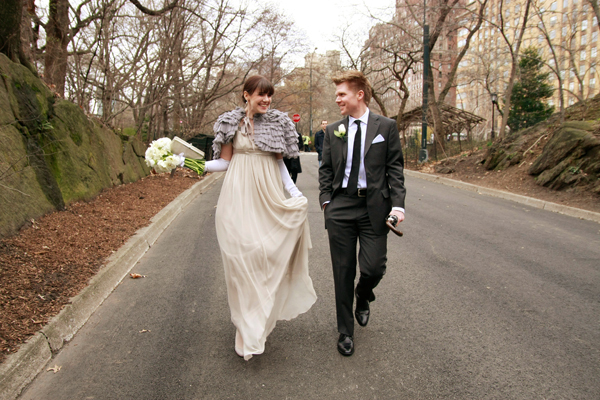 """These two Manhattan-based artists were wed in Central Park and had their reception at the hip Rue 57 bar nearby.  <a href=""""ht"""