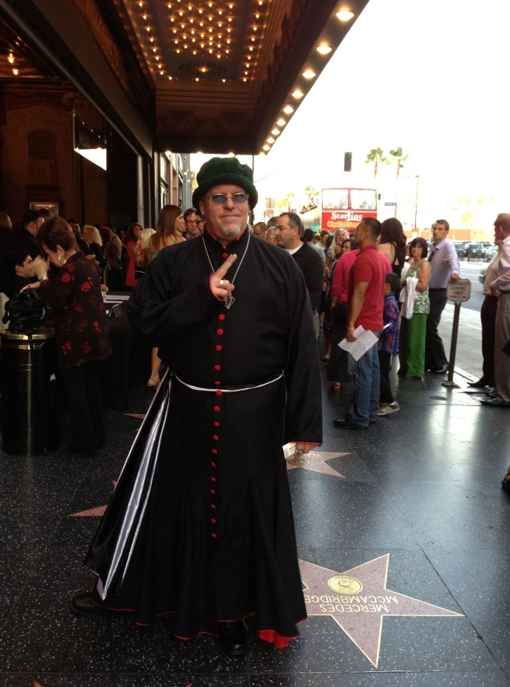 If you're Karel, and you're going to attend a red carpet premiere of Sister Act at the Pantages, you, of course, dress the pa