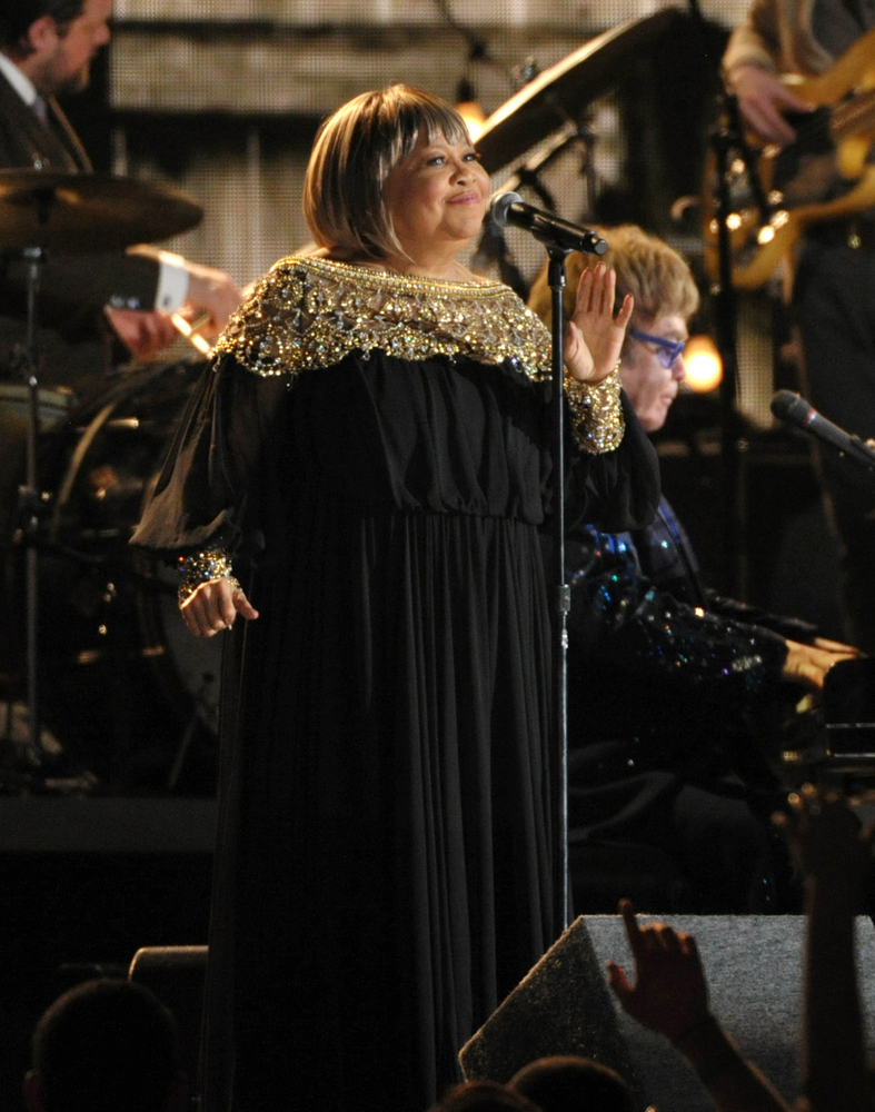 Mavis Staples, standing, and Elton John perform at the 55th annual Grammy Awards on Sunday, Feb. 10, 2013, in Los Angeles. (P