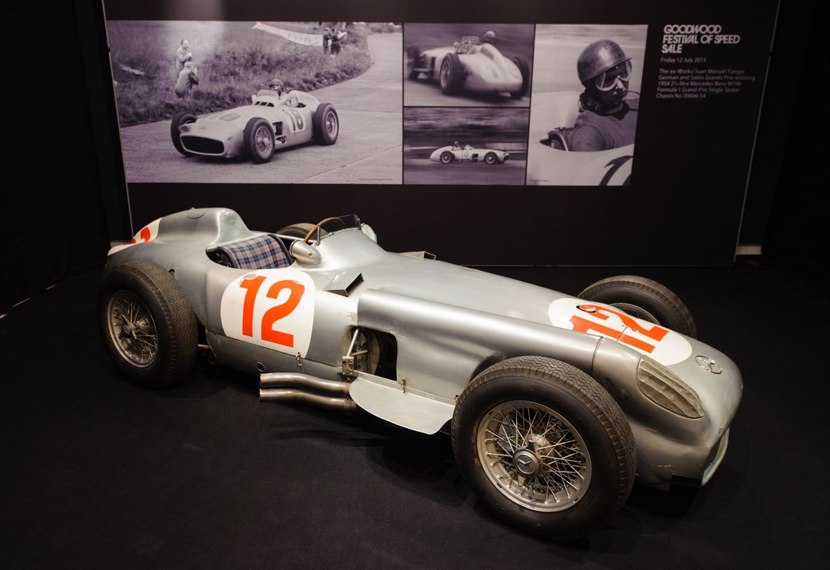 A view of the 1954 2.5 litre Mercedes-Benz W196 Formula 1 Grand-Prix single-seater which was driven by Juan Manuel Fangio, at