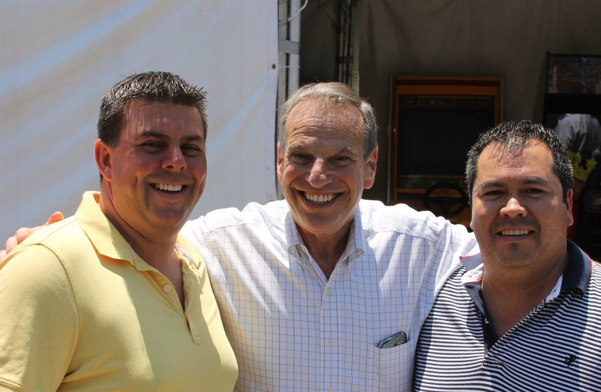 It was a surprisingly ebullient, though clearly subdued <strong>Mayor Bob Filner</strong> (center) who was warmly received by