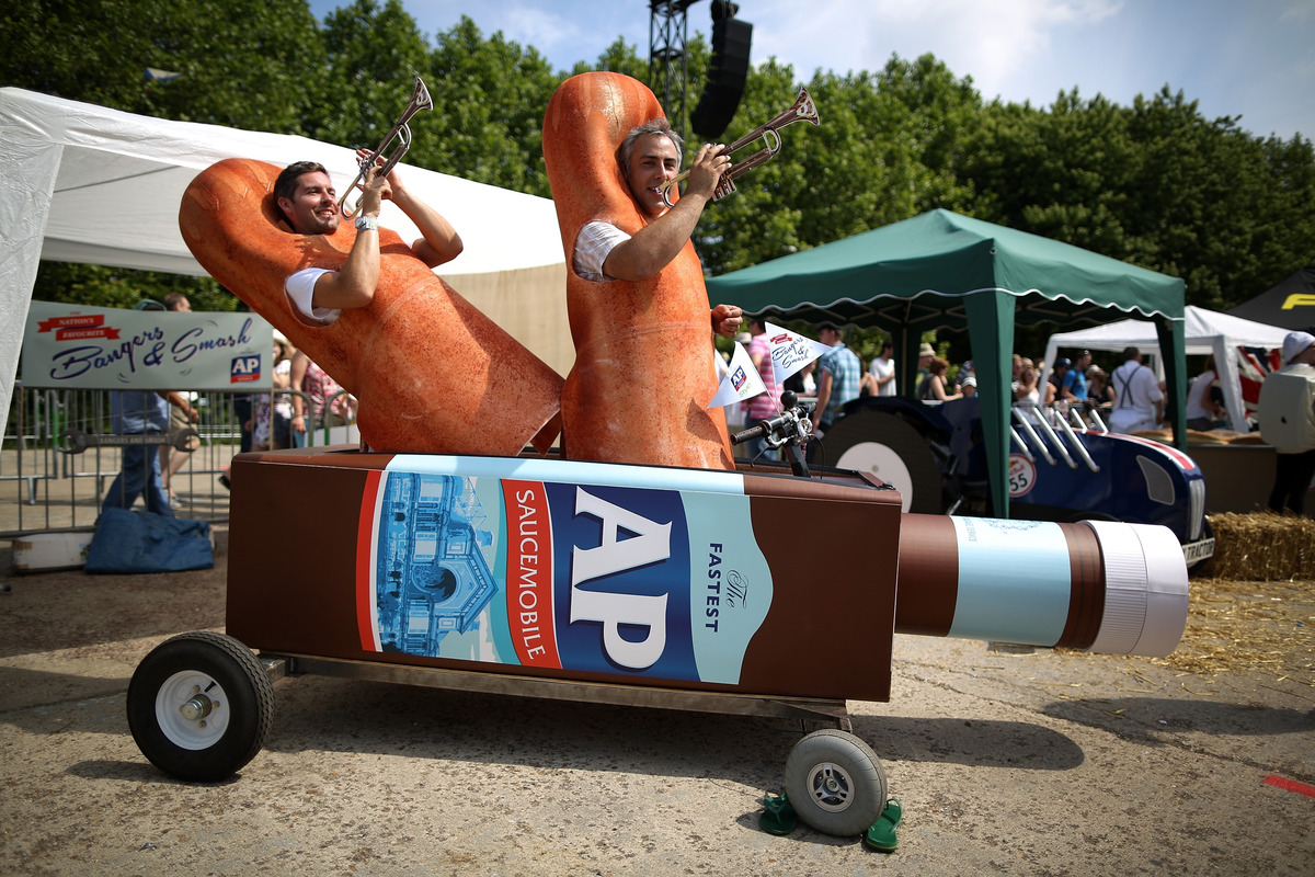 LONDON, ENGLAND - JULY 14:  A team in their soapbox racer plays instruments ahead of the start of the races at Alexandra Pala