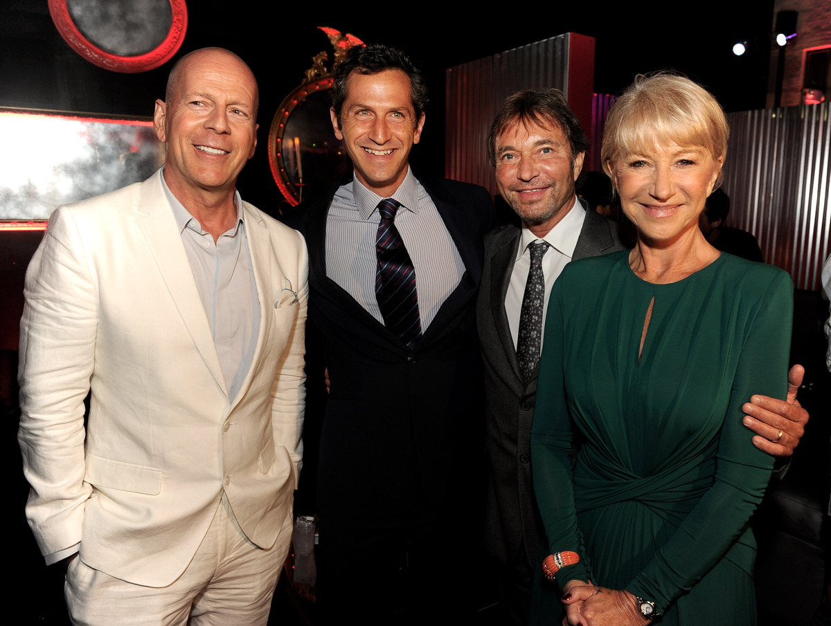LOS ANGELES, CA - JULY 11:  (L-R) Actor Bruce Willis, Erik Feig, President of Production, Lionsgate, Patrick Wachsberger, Co-