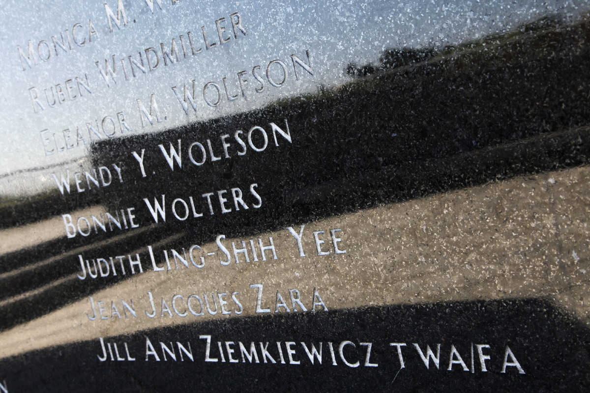 Names of those whose lives were lost are etched in marble at the TWA Flight 800 International Memorial at Smith Point County