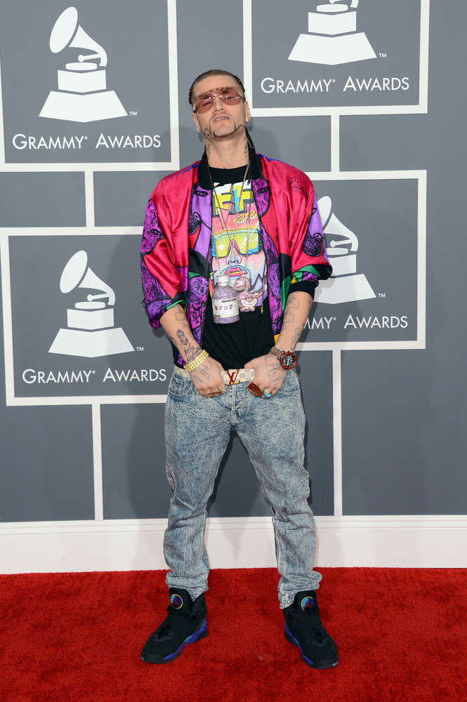 LOS ANGELES, CA - FEBRUARY 10:  Rapper Riff Raff arrives at the 55th Annual GRAMMY Awards at Staples Center on February 10, 2