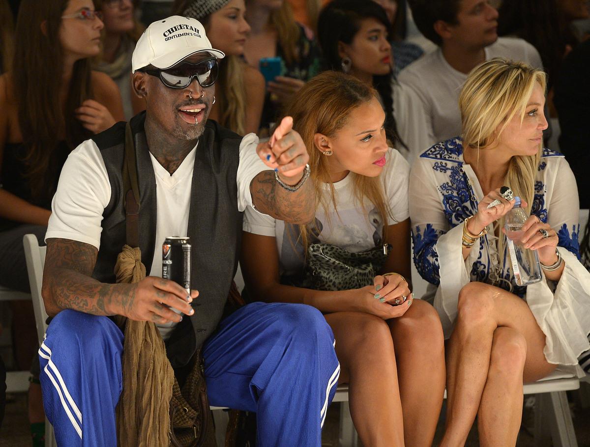 MIAMI, FL - JULY 22:  (L-R) Dennis Rodman, Alexis Rodman, and Lisa Pliner attends Anna Kosturova/Beach Riot/Lolli Swim/Mangla