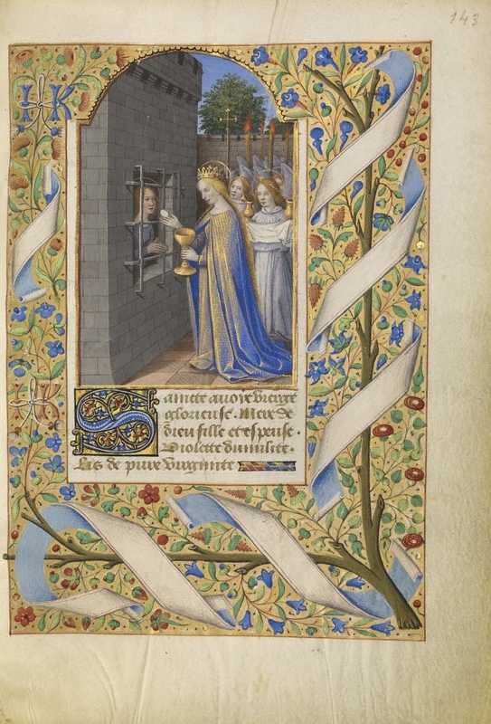 Jean Bourdichon (French, 1457 - 1521, active Tours, France, early 1480s - 1521) Saint Avia in Prison Receiving Communion from