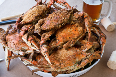 """Crabs are messy, so why go somewhere fancy when rustic picnic tables will do? <a href=""""http://bethesdacrabhouse.com/"""" target="""